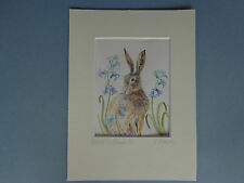 """HARE AMONGST BLUEBELLS"" A lovely Watercolour Painting by Sandra Mason"