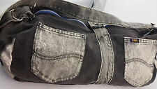 "Vintage Lee Jeans Acidwash Purse Handmade Gray Denim Shoulder Bag 8 "" x 18"" 80s"