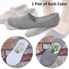 2 paire de chaussettes pour hommes Casual Loafer Invisible Coton Blanc + Gris ED