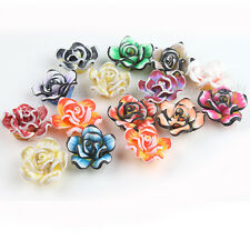 24pcs New Mixed Colorful Rose Fimo Polymer Clay Spacer Beads Findings 20mm L