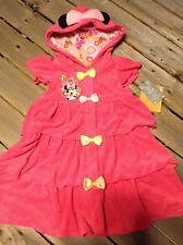 Disney Store Minnie Mouse Swimsuit terry Cover up robe New sz 4