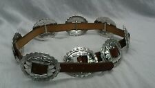 Cool vtg  Brighton 1993 sunflower brown leather concho southwestern belt size M