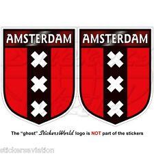 """AMSTERDAM Scudo Paesi Bassi Olanda Adesivi in Vinile per Auto 75mm 3"""" Sticker x2"""