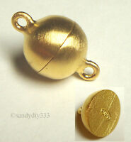 1x Real 18K GOLD plated STERLING SILVER SATIN ROUND MAGNETIC CLASP 10mm G057