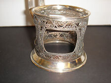 Vintage Russian Silverplate Filigree Tea Glass Holder Hallmarks Handmade 3 1/2""