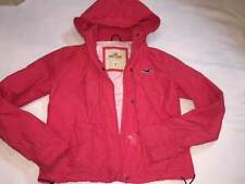 womens junior hollister pink windbreaker rain jacket sz Med EUC sPING SUMMER