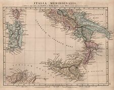 1828 ANTIQUE ARROWSMITH HAND COLOURED MAP ITALIA MERIDIONALIS