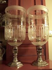 "Ralph Lauren Greek Key 18"" Hurricane Candle Holders (2) Mouth Blown Etched Glass"
