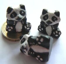 From Peru - Ceramic Focal 21x18 mm Beads - Black & White Panda Shapes x 3 beads