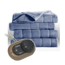 Sunbeam Heated Electric Blanket Royal Dreams Quilted Fleece Twin Dusty Blue