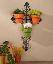 INDOOR OUTDOOR SCROLL WALL CROSS POTTED PLANT HOLDER READY TO HANG PLANTER