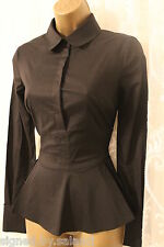 Karen Millen Limited Edit Cotton Tailored Formal Stretch Fit Peplum Shirt 10 38