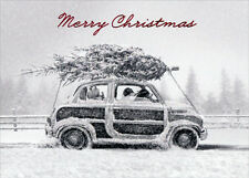 Dogs In Car With Tree - Embellished Christmas Card by Avanti Press
