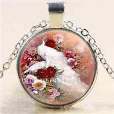 Rose With White Peacock Cabochon Glass Tibet Silver Chain Pendant Necklace