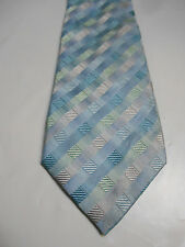 Van Heusen Silver Blue and Green Woven Geometric Silk Necktie