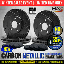 [Front+Rear] BLACK Slotted Drilled Rotors & Metallic Pads Fit G35 350Z