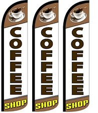 Coffee Shop Windless Standard Size  Swooper Flag Sign Banner Pk of 3