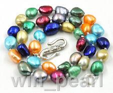 """Nouveau 8-9mm collier de perles de culture d'eau douce baroque multicolore 17 """""""