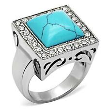GIFT FOR MEN Size 11 V Stainless Steel Silver Tone & Turquoise Blue Stone Ring
