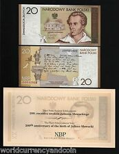 POLAND 20 ZLOTYCH180 2009 SLOWACKI COMMEMORATIVE POEM BIRD CROSS UNC NOTE+FOLDER