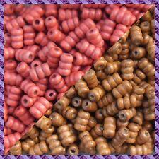 100 Perles Bois Tube 2 coloris Marron clair / Rouge