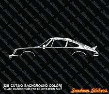 2x car silhouette stickers - for Porsche 911 ( 930 ) with ducktail