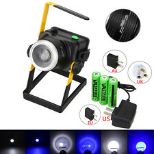 Rechargeable 3000LM XML T6 LED WHITE+BLUE Zoomable Spotlight Flood Light 3x18650