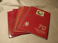 "1 Subject 70 SHEET Spiral 3 Ring Holed Notebook 10-1/2"" x 8"" - (Pack of 5) NOS"
