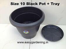 "Easy Gardening 10"" Gardening Black Pots + Trays- Plastic Planter (Pack of Three)"