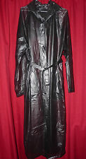 see through black shiny long pvc vinyl hooded raincoat 48 chest womans sexy Lge