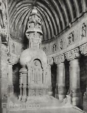 1928 Original INDIA Ajanta Cave Buddha Statue Architecture Photo By HURLIMANN
