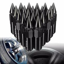 20Pcs Black Aluminum M12X1.5 Car Wheels Rims Lug Nuts Spiked Extended Tuner
