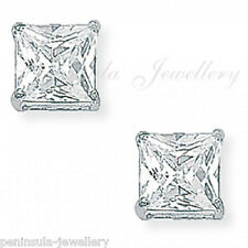 9ct White Gold 6mm Square CZ Studs Earrings Gift Boxed