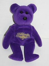 "Jenkins Purple Plush ATLANTA GA TEDDY BEAR 9"" Bean Bag Stuffed Animal Toy City"