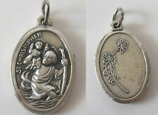"Silver Catholic / Christianity St. Christopher Medal 1.2"" Rosary italy PENDANT"