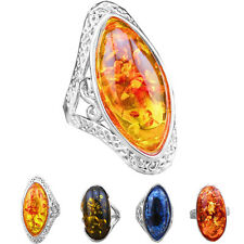 Wholesale Lot 10pcs Antique Silver Plated Mixed Design Colorful Big Amber Rings