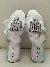 Cache Rhinestone Sliver Sandals Size 8 / 7.5M Embellished Flat Shoes New In Box