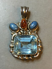 ART DECO ANTIQUE VINTAGE RUSSIAN STERLING SILVER PENDANT WITH STONES
