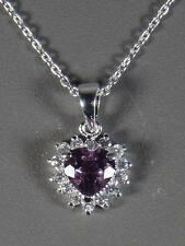 "Sterling Silver Amethyst Heart Cut Pendant w/18"" Chain - Gift Boxed"