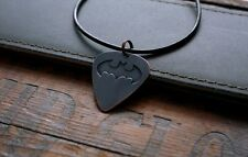 Hand Made Etched Copper Guitar Pick Necklace - Batman