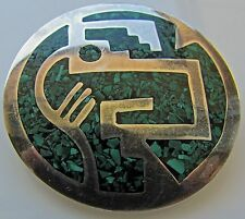 Sterling Silver 925 Modernist Mexico Taxo Green  Malachite Inlay Brooch Pendant