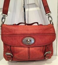 Fossil Leather Distressed Red Cross body Shoulder  Purse Long Live Vintage