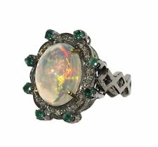Ethiopian opal, diamond, emerald and sterling silver Vintage Estate Sale