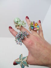 Starfish Octopus Peacock Flower Stretch Ring Crystal Rhinestone Fashion Jewelry
