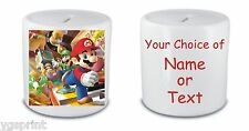 MARIO  MONEY BOX / PIGGY BANK ANY NAME OR TEXT PRINTED FAST POSTAGE