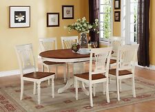 7-PC KENLEY OVAL KITCHEN DINING TABLE w/ 6 WOOD SEAT CHAIRS, BUTTERMILK & CHERRY