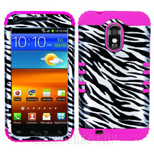Hybrid Impact Cover for Samsung Galaxy S II S2 Sprint Silver Zebra Pink Case