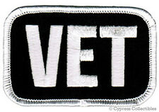 MILITARY VETERAN PATCH VET ARMY NAVY USAF USMC embroidered iron-on WHITE EMBLEM