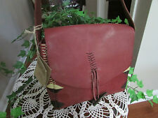 LUCKY BRAND Laguna Canyon Collection Cowhide Leather Wine Handbag Purse NWT