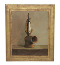 Thomas Buechner Oil Painting on Board Fish Grinder, Listed Art, Offers Welcome